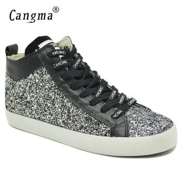 CANGMA Stylish Brand Sneakers Women Sequined Shoes Black And White Glitter Woman's Casual Shoes Mid Female Breathable Footwear