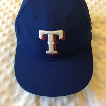 Embroidered T TEXAS RANGERS Baseball Style Hat Cap One Size Blue
