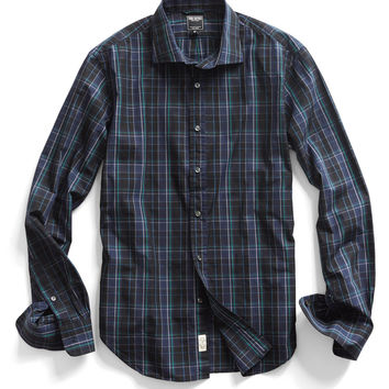 Spread Collar Dress Shirt in Navy Plaid