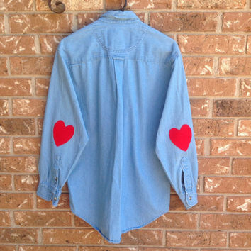 Denim shirt with red elbow heart patches, hipster, indie, size large