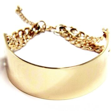 Gold Cuff Choker Necklace