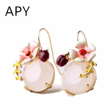 APY Fashion Fresh Natural Enamel Wildflowers Earrings Accessories Quality Multicolour Glaze Flower Earrings For Women Jewelry