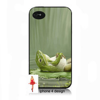 Unique Relaxing Frog Iphone 4 case, Iphone case, Iphone 4s case, Iphone 4 cover, i phone case, i phone 4s case