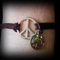 Suede Bracelet Tibetan Silver and Bronze Peace Charm Tan and Green Crystal Bicone Beads