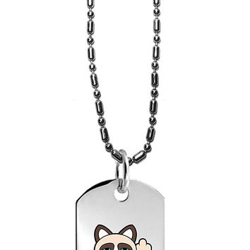 Hat Shark Grumpy Neko Unlucky Lucky Cat With Broken Coin - 3D Color Printed Military Dog Tag, Luggage Tag Pendant Metal Chain Necklace