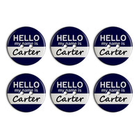 Carter Hello My Name Is Plastic Resin Button Set of 6