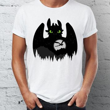 Men's T Shirt Toothless Dragon Night Fury Black and White Ink Art Awesome Cartoon Character Tee