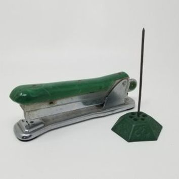 Green Vintage Ace Stapler Model 502 and Green Metal Receipt Holder