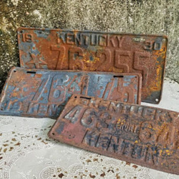 1929 1930 1931 Kentucky Kenton County License Plates Set of Three