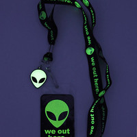 Alien We Out Here Glow-In-The-Dark Lanyard