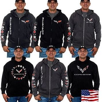 JH DESIGN GROUP Men's Chevy Corvette Hoodies In 6 Styles With Exclusive American Flag Sticker