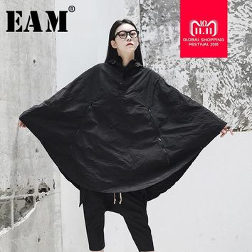 Trendy [EAM] 2018 New Autumn Winter Hooded Long Batwing Sleeve Personality Pocket Big Size Cloak Coat Women Jacket Fashion Tide JG909 AT_94_13