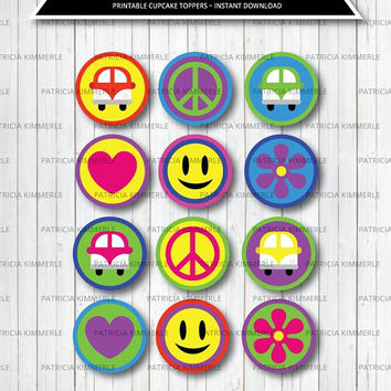 Printable Cupcake Toppers, Groovy, Peace, Love, Hippie, Flower Power, 60s, 70s, Party, Birthday, Baby Shower, INSTANT DOWNLOAD
