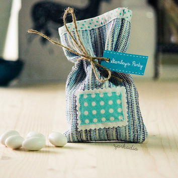 Fabric favor bags, 20 Christening favors, Baptism favors, boy baptism, boy party favors, baby shower, blue theme