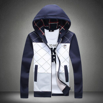 Winter Hoodies Hats Men Plaid Mosaic Jacket [6528648707]