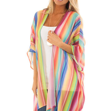 Multi Color Light Weight Sheer Striped Kimono