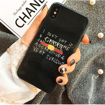Gucci Graffiti Print iPhone 6 plus iPhone X Personality Glass Protective iPhone Soft Shell Phone Case