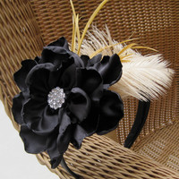 Black Fashion Headband with Large Open Rose, Feathers and a Beautiful Rhinestone Accent.