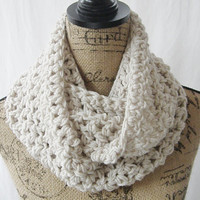 SALE Choose Your Color Handmade Crochet Knit Infinity Scarf Cowl Necklace Accessory