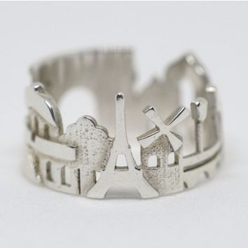 Paris Cityscape Statement Ring