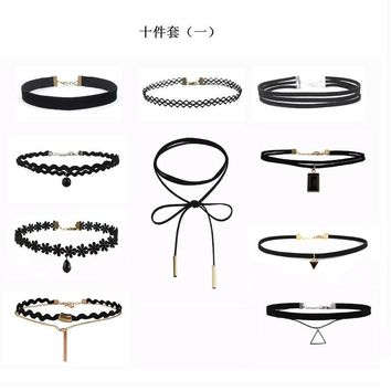 SHUANGR fashion 10pcs/set PU Leather Choker Necklaces Set for Women Steampunk Collar Lace Necklace Jewelry Gothic Tattoo Collier