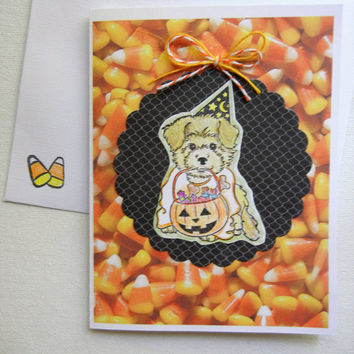 Halloween Card featuring Puppy Trick or Treating, Handmade with Stamped Images Dog Trick or Treating, Includes Envelope