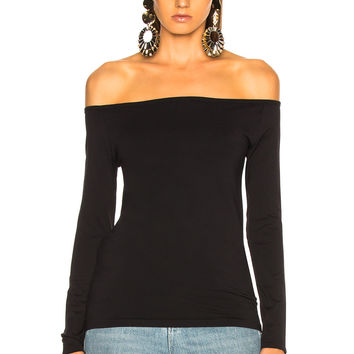 Helmut Lang Long Sleeve Open Boat Neck Tee in Black | FWRD