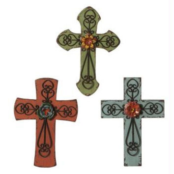 "3 Wall Crosses - 12 "" H X 8.5 "" W X 1.5 "" D"