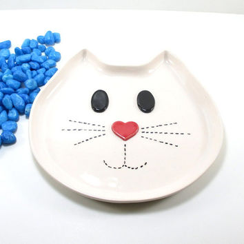 Cat plate, cat ceramic plate, cat pottery plate, cat lovers gift, cat serving plate, cat handmade plate, ceramic cat