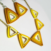 Yellow and Gold Jewelry Set, yellow ombre, yellow triangle necklace, yellow triangle earrings, paper quilling jewelry, geometric jewelry set