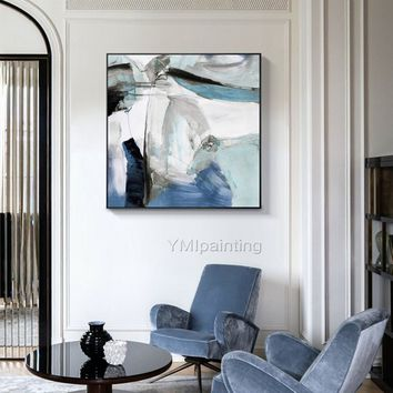 Modern art abstract Painting on canvas Original texture agate acrylic black Blue painting large wall pictures home decor cuadros abstractos