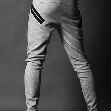 Gray Lace-UP Baggy Sweatpants