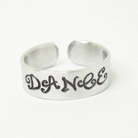 Hand stamped DANCE ring - Word ring - Adjustable ring - Gift for dancer - Dancer ring - Mother's Day gift - Word ring