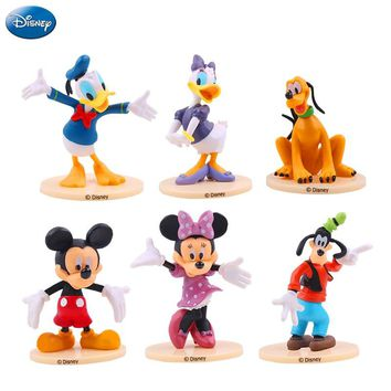 6Pcs Disney Mickey Mouse Minnie Mouse Action Figure Princess Donald Duck Pluto Doll Birthday Gift Children Toy Collection Boy