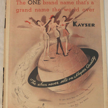 Vintage 1944 Kayser Hosiery Underwear lingerie Print Ad Pin-up Girl Wall Art Decor