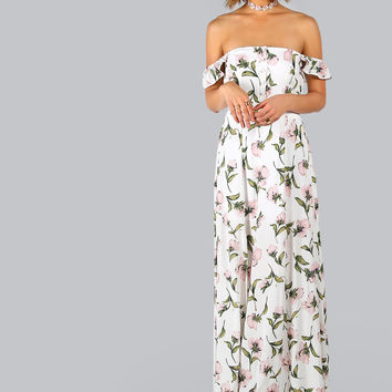 White Off Shoulder Button Front Side Slit Maxi Dress