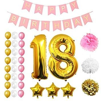 "18th Happy Birthday Party Balloons, Supplies & Decorations by Belle Vous - 32 Pc Set - Large 18 Years Foil Balloon 12"" Gold, White and Pink Latex Balloon Decoration - Decor Suitable for Teenagers"