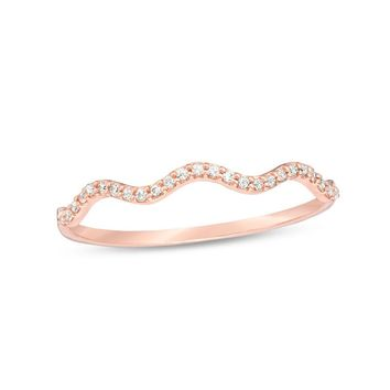 1/15 CT. T.W. Diamond Wave Anniversary Band in 10K Rose Gold|Zales