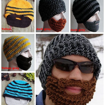 5967a0cc6db Winter mask knit beard hat beanie hat for mens and women