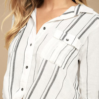 Billabong Meadow Swing Black and White Striped Button-Up Top