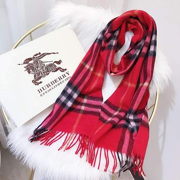 Burberry Autumn Winter Classic Women Men Warmer Cashmere Cape Scarf Scarves Shawl Accessories Red