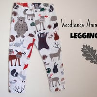 Baby Boys Leggings Boys Pants Unisex Leggings Woodlands Animals modern abstract Made to order Size Newborn - 12months