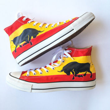 Patriotic Spain Flag Charging Bull Custom Painted Converse Shoes