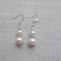 3 pair wedding earrings, dangle earrings, pearl drop earrings, wedding jewelry, pearl wedding, bridal earrings, bridesmaid earrings