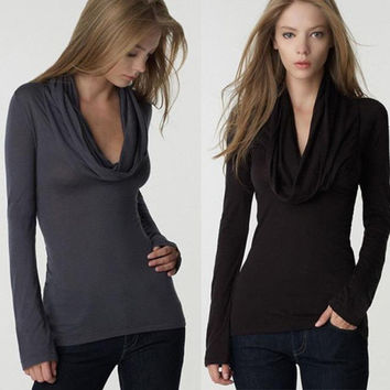 Hot Sale Deep V Long Sleeve Scarf Slim Sexy T-shirts Bottoming Shirt [6338702468]