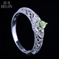 HELON Solid 14K White Gold Trillion 4.5mm Peridot & Genuine Natural Diamonds Jewelry Filigree MIlgrain Engagement Wedding Ring