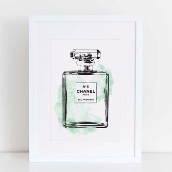 Chanel No 5, water colour print in mint 5X7 inches instant download file