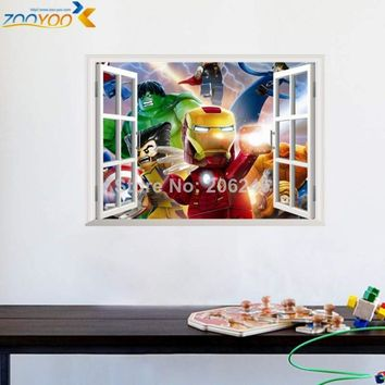 3d effect The Avengers window wall stickers for kids rooms home decor diy cartoon movie wall decals mural art pvc lego posters