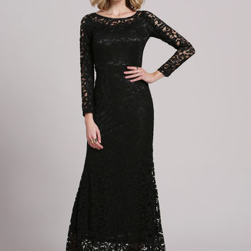 Black Crochet Lace Long Sleeve Maxi Dress