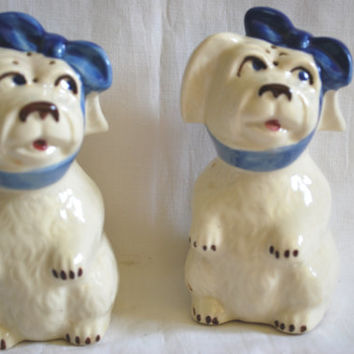 Vintage Shakers Salt and Peppers Shawnee Pottery Mugsy Dog with Blue Scarf